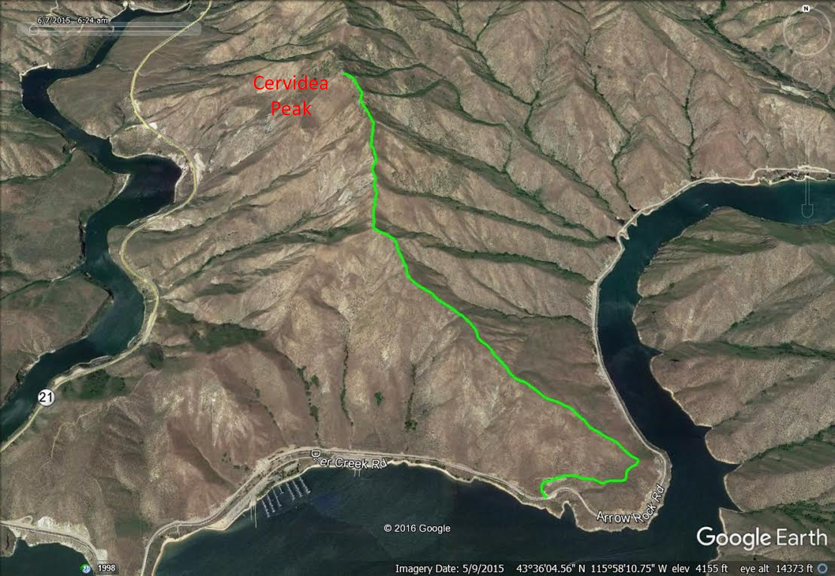 My GPS track for the Southeast Ridge route superimposed on a Google Earth.