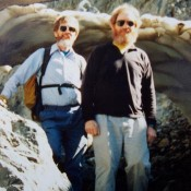 Chuck Ferguson (L) and David Ferguson (R) in Jones Creek, Lost River Range, after climbing No Regret Peak July of 1994. Rick Baugher Photo