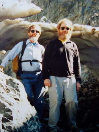 Chuck Ferguson (L) and David Ferguson (R) in Jones Creek, Lost River Range, after climbing No Regret Peak July of 1994. Rick Baugher Photo