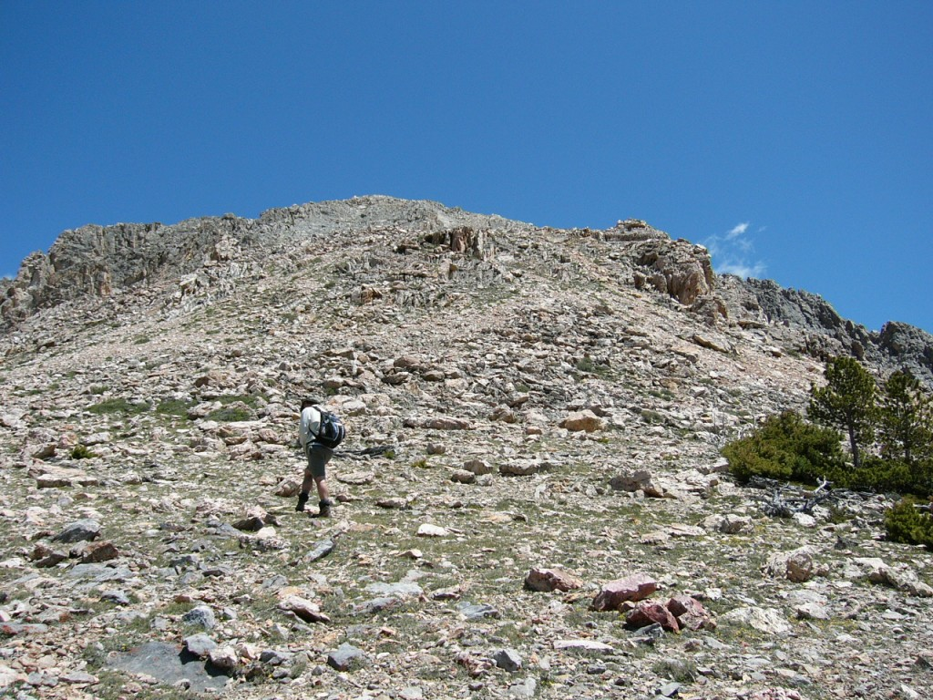 Climbing the final slope to summit.
