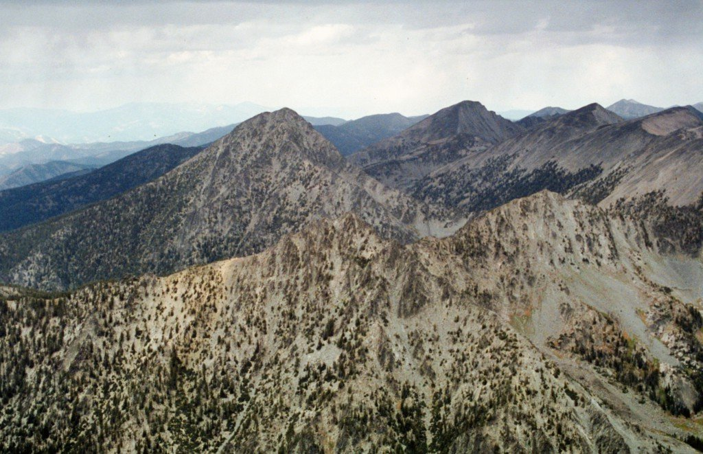 Copperhead Peak and the northern Beaverhead crest from Freeman Peak.
