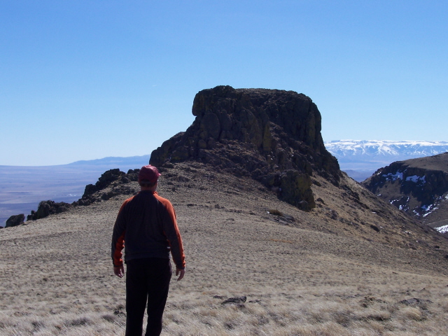Looking south to Cotterel Knob.On the left horizon is historic Kelton Pass, to the right are the Raft River Mountains of Utah, R. Baugher photo. 3/15/07