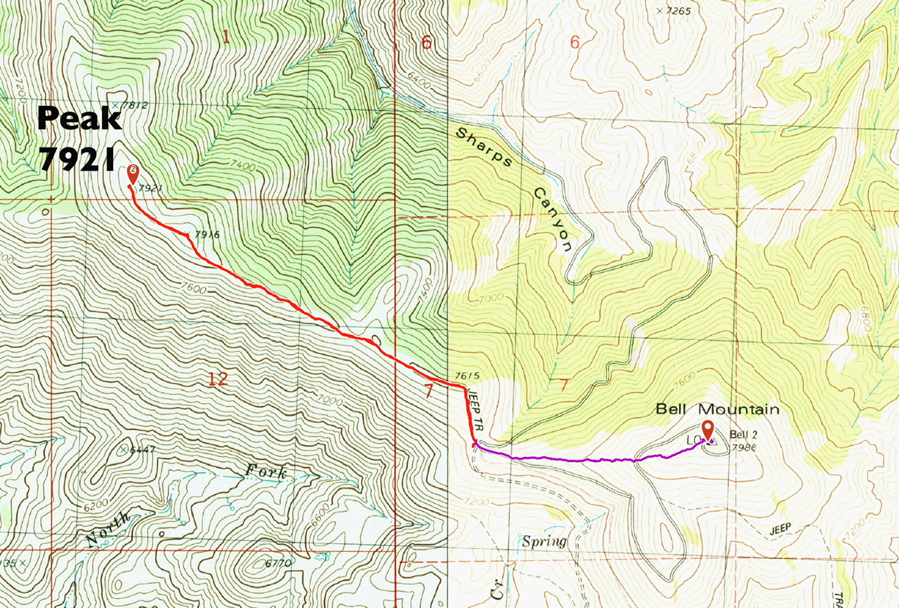 The southeast ridge route is shown in red. Round trip is 2.65 miles with 450 feet of elevation gain.