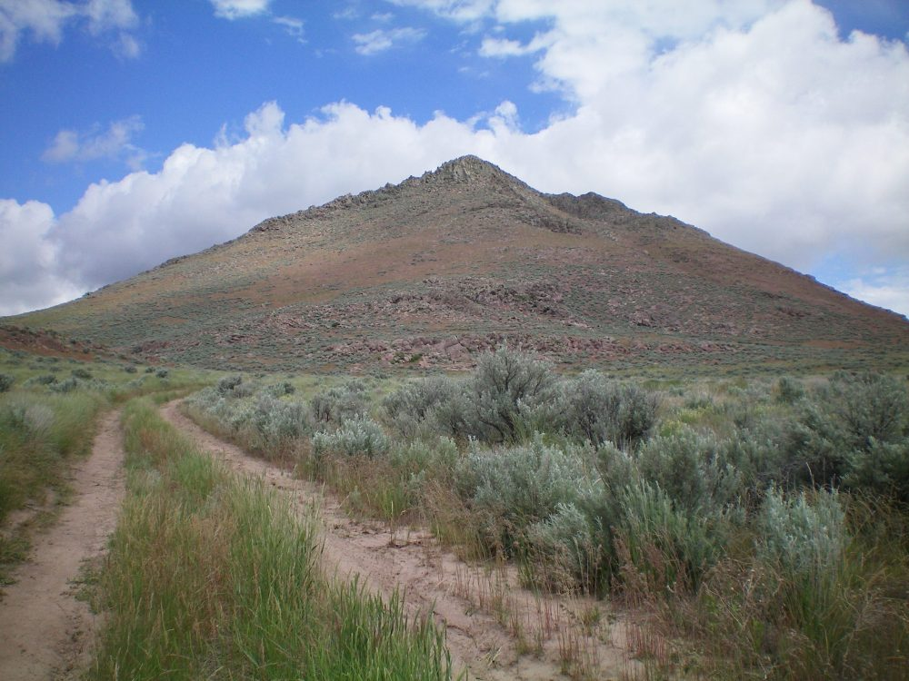 The South Face of Wedge Butte as viewed from Picabo Desert Road. The South Gully is to the far left and leads to a saddle at the base of the West Face. Livingston Douglas Photo