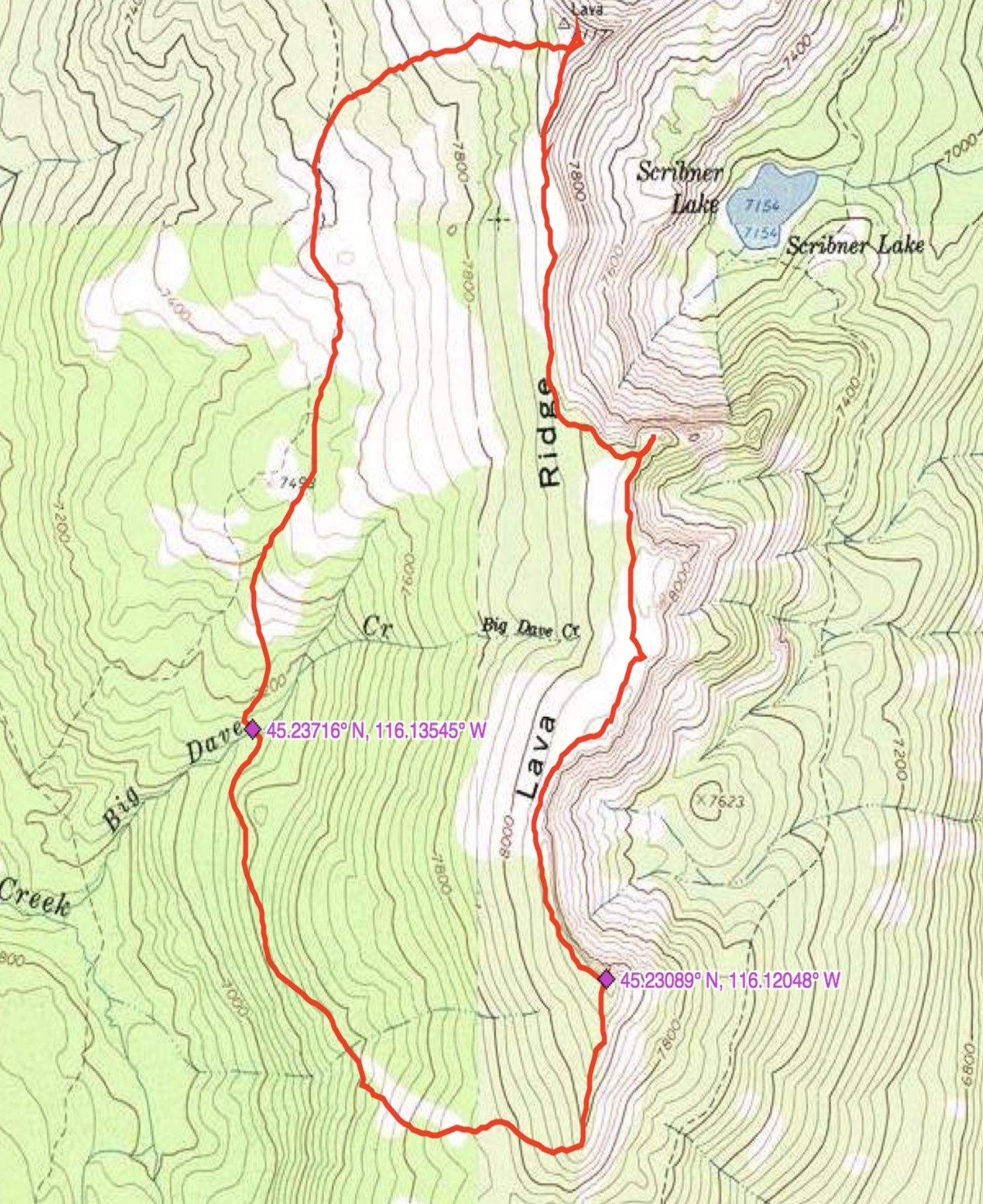 John Platt's GPS track for his loop hike.