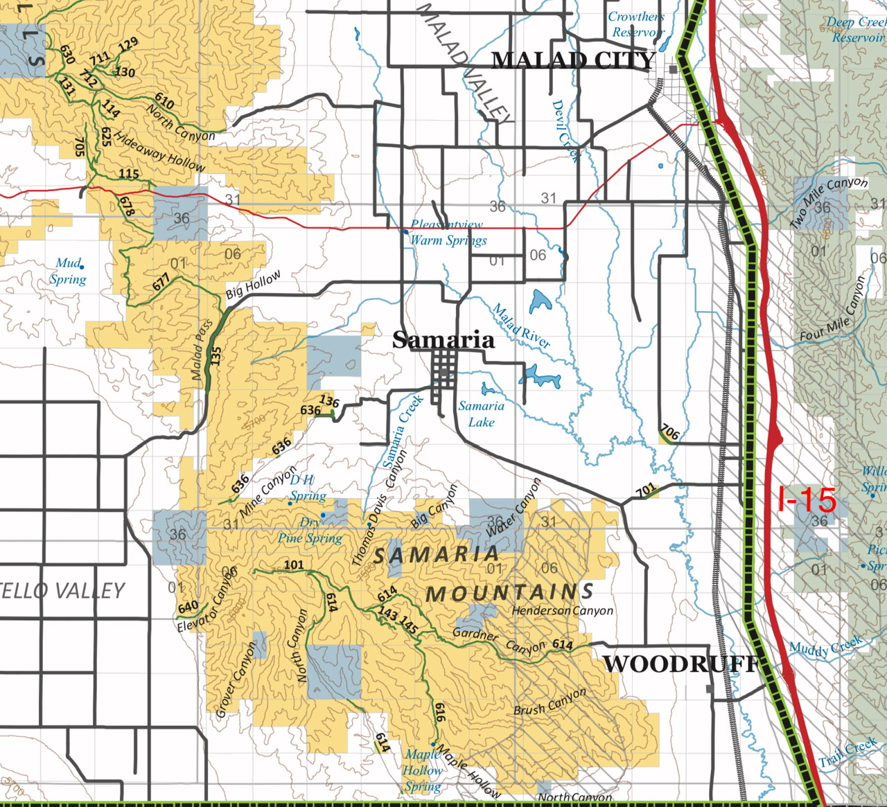 This BLM overview map shows the road system. BLM 614, a 4WD road, is the primary route through the range. It is accessible from the east and the south.