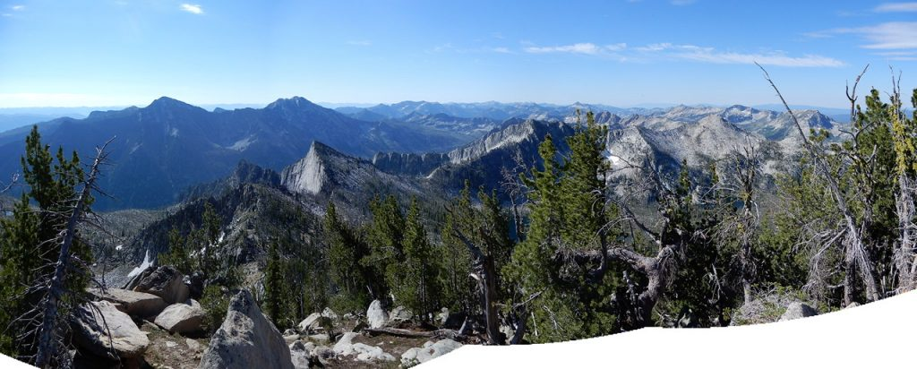 This panoramic shot by John Platt shows part of the fantastic view from the summit. North and South Loon Mountains to the left, Storm Dome in the foreground and the Lick Creek subrange crest running off from the center to the right.