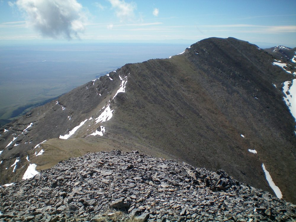 The North Ridge of Mount Hoopes as viewed from the summit of Tyler Peak. The summit of Mount Hoopes is just right of center. Livingston Douglas Photo