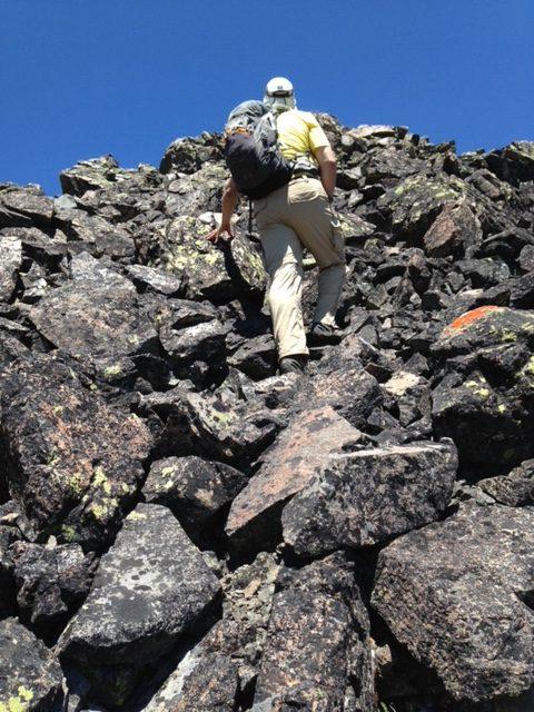 Climbing up the summit block. Karen Jones Photo