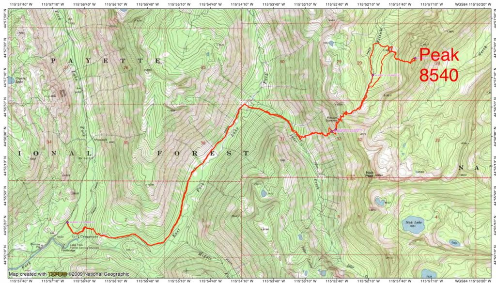 John Platt's GPS track. His route covered 15.3 miles and 6,248 feet of elevation gain round trip.