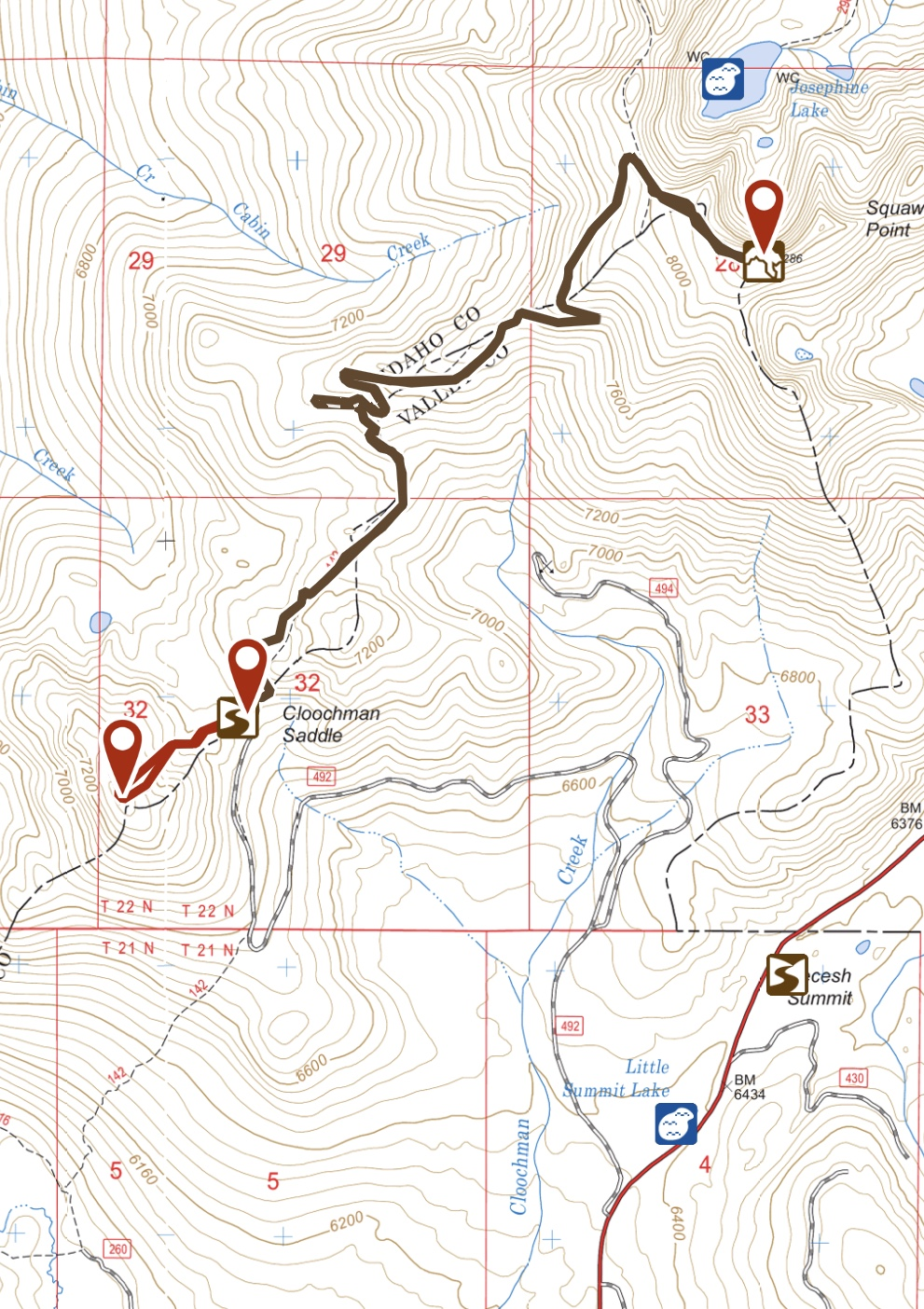 This map shows the FS=492 and my GPS track to the summit.