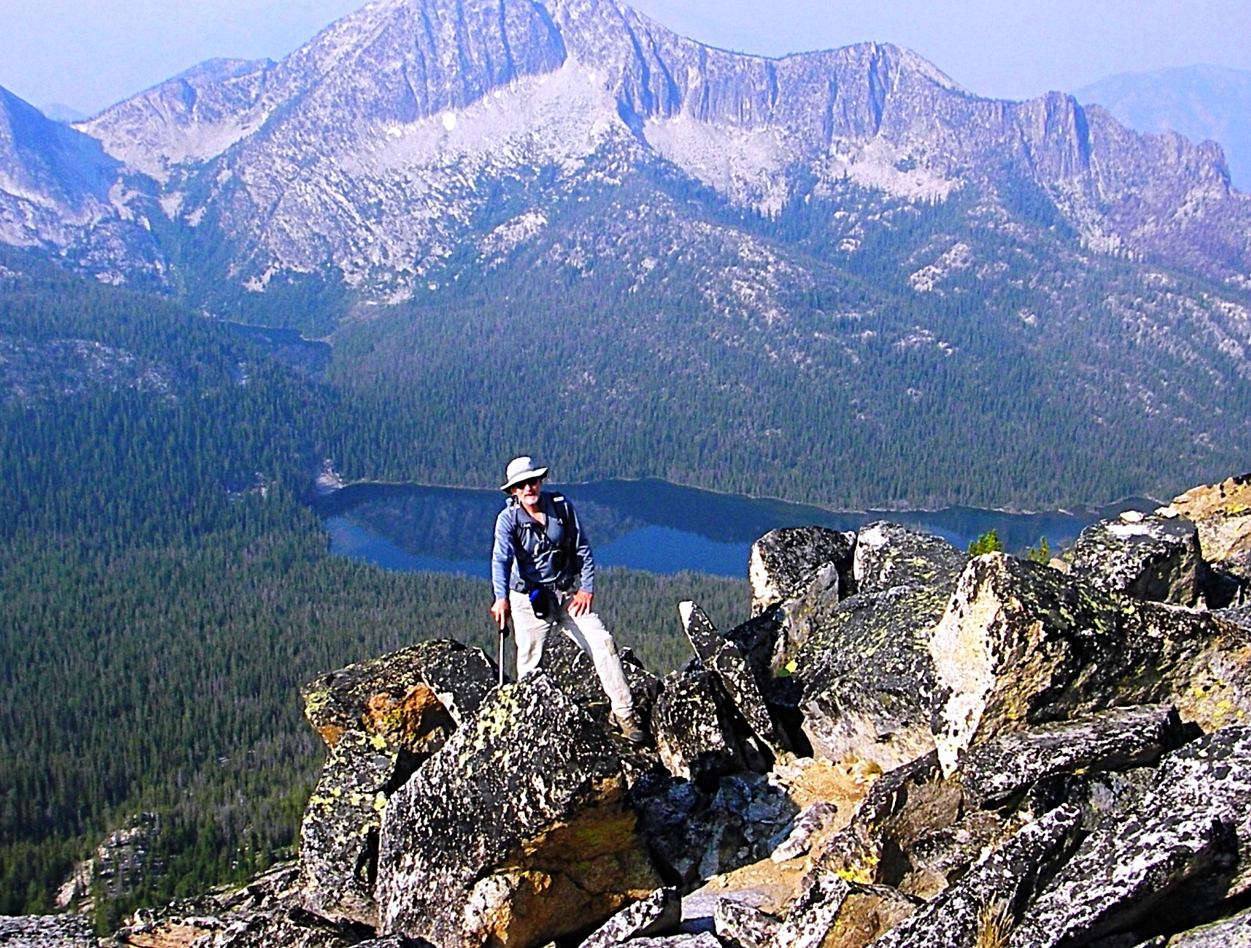 Walking up the WSW ridge of McGuire with Aggipah Mountain in the backgrolund. Judi Steciak Photo