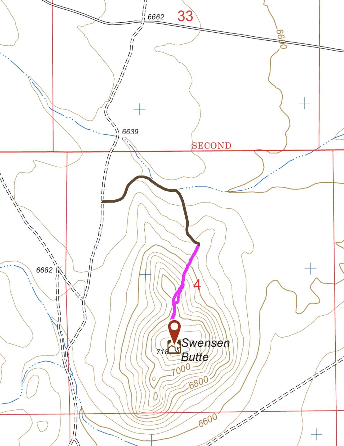 My GPS Track. This route covered 0.85 miles with 444 feet of gain round trip.