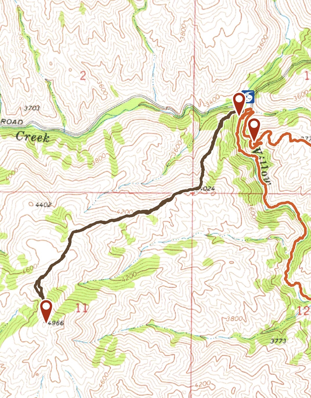 My GPS track up the peak's long of northeast ridge. 3.2 miles round trip with 1,550 of gain.