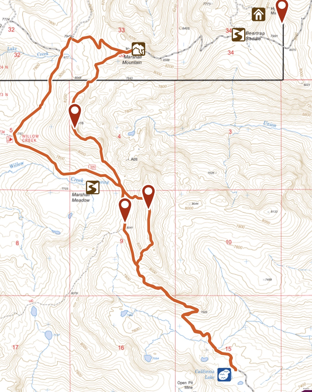 My GPS track for Marshall Mountain and the two peaks with an elevation of 8,460 feet. I highly recommend this scenic ridge walk.
