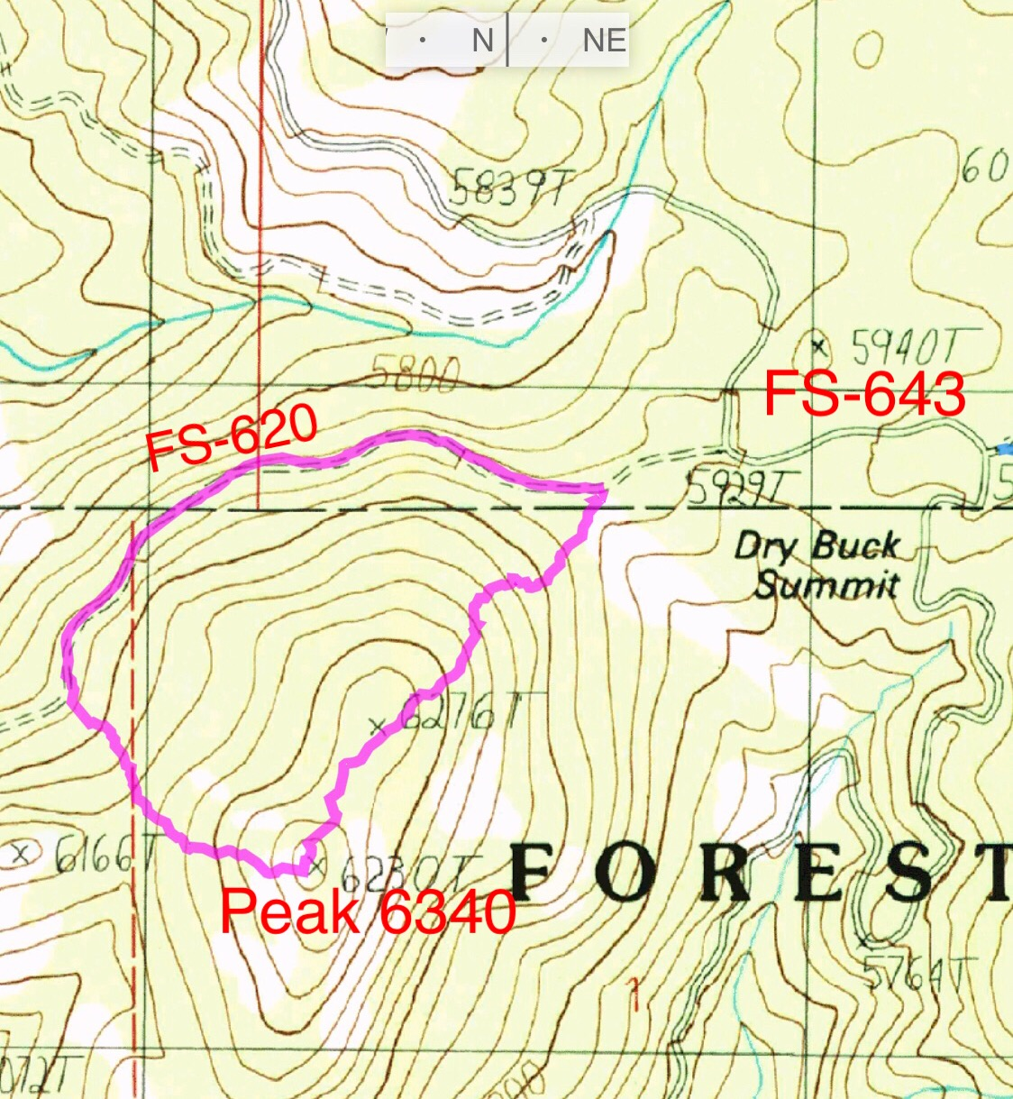 My GPS track for a loop on Peak 6340. FS-620 is a wide, well graded road. A 2WD can easily drive to the point where the westernmost line starts up the mountain. The loop covered 1.5 miles and 435 of elevation gain.