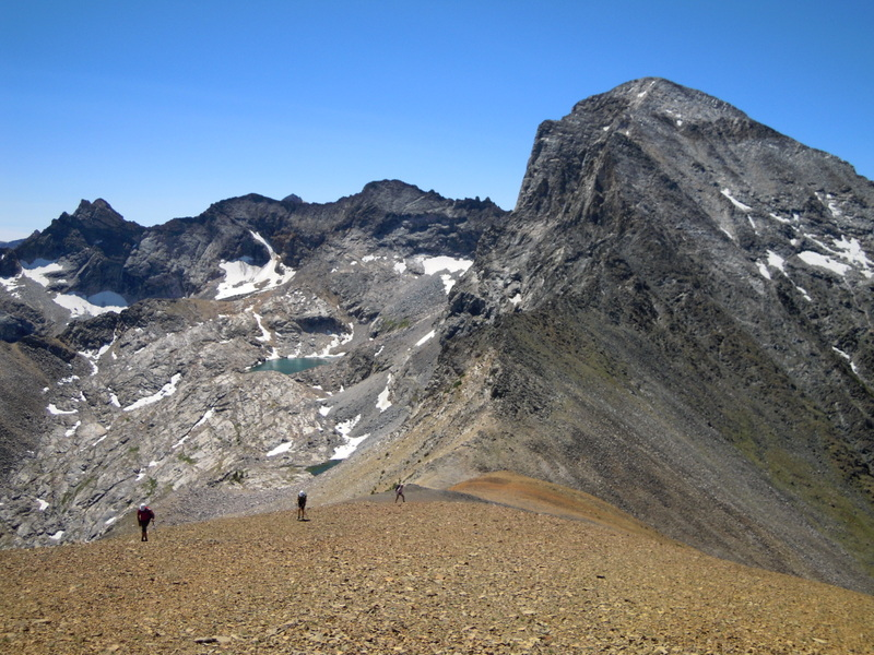 The talus covered ridge of Peak 10942 with the Devils Bedstead East in the background. Carl Hamke Judi Steciak photo.