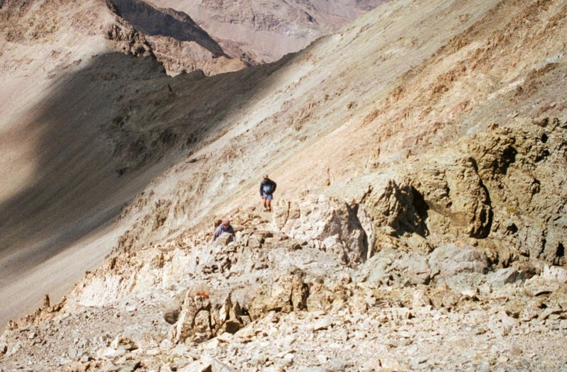 Dana Hansen and Basil Service climbing the south ridge of Silver Peak.