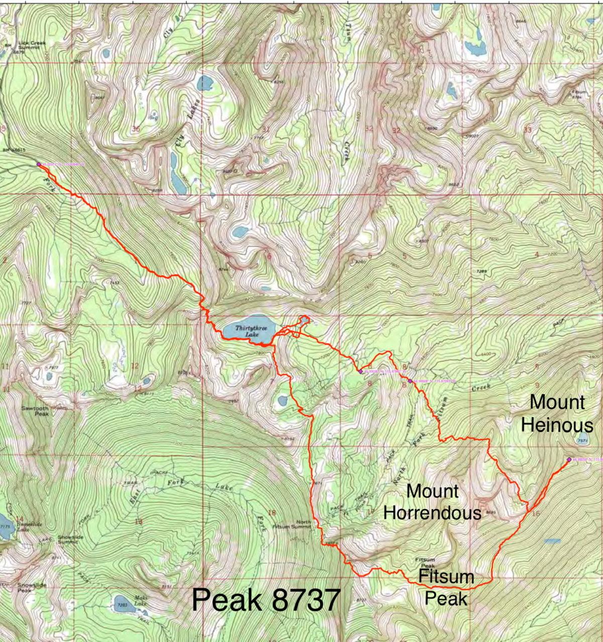 John Platt's route from Thirtythree Lake to Mount Heinous and back.