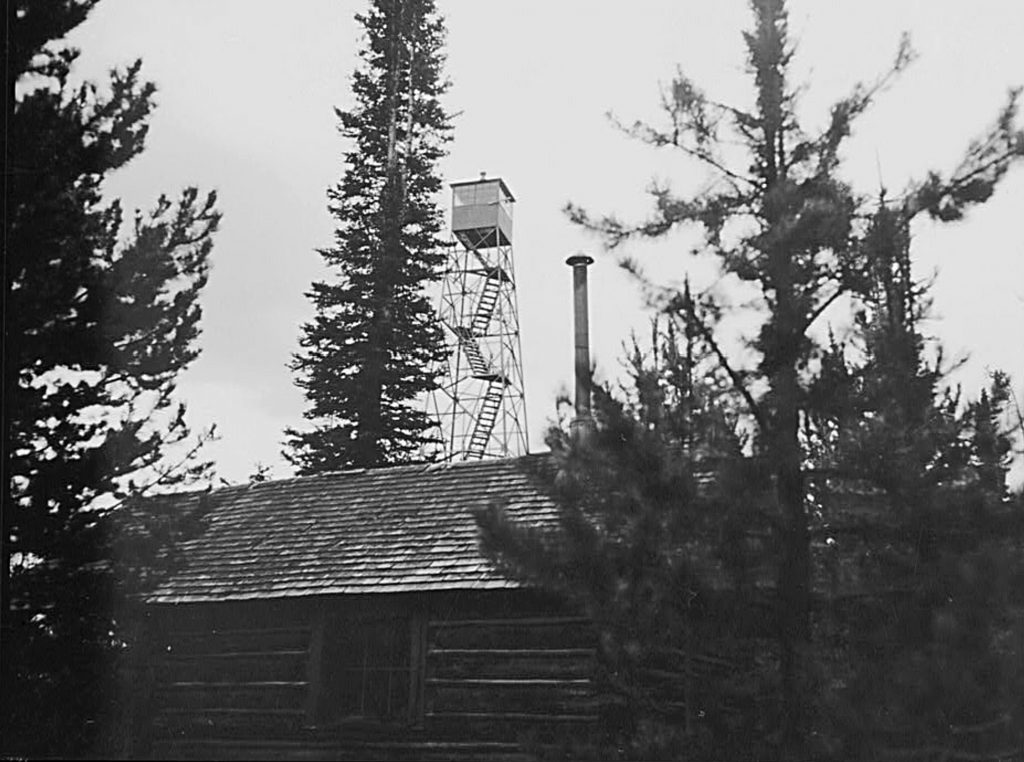 The Forest Service lookout and cabin. USFS Photo