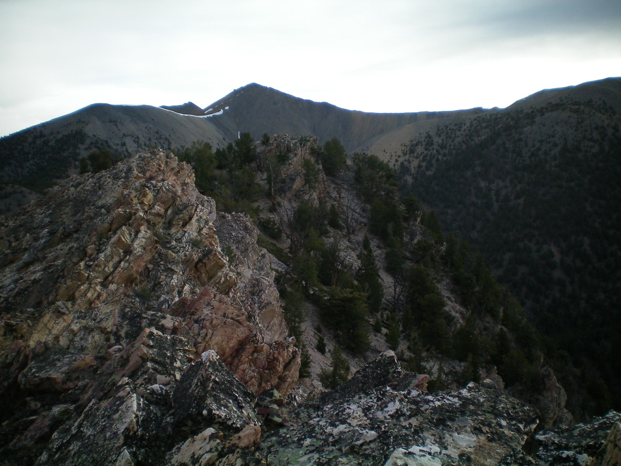 The rugged Class 3 ridge points on the Southwest Ridge as viewed from the true summit. Livingston Douglas Photo