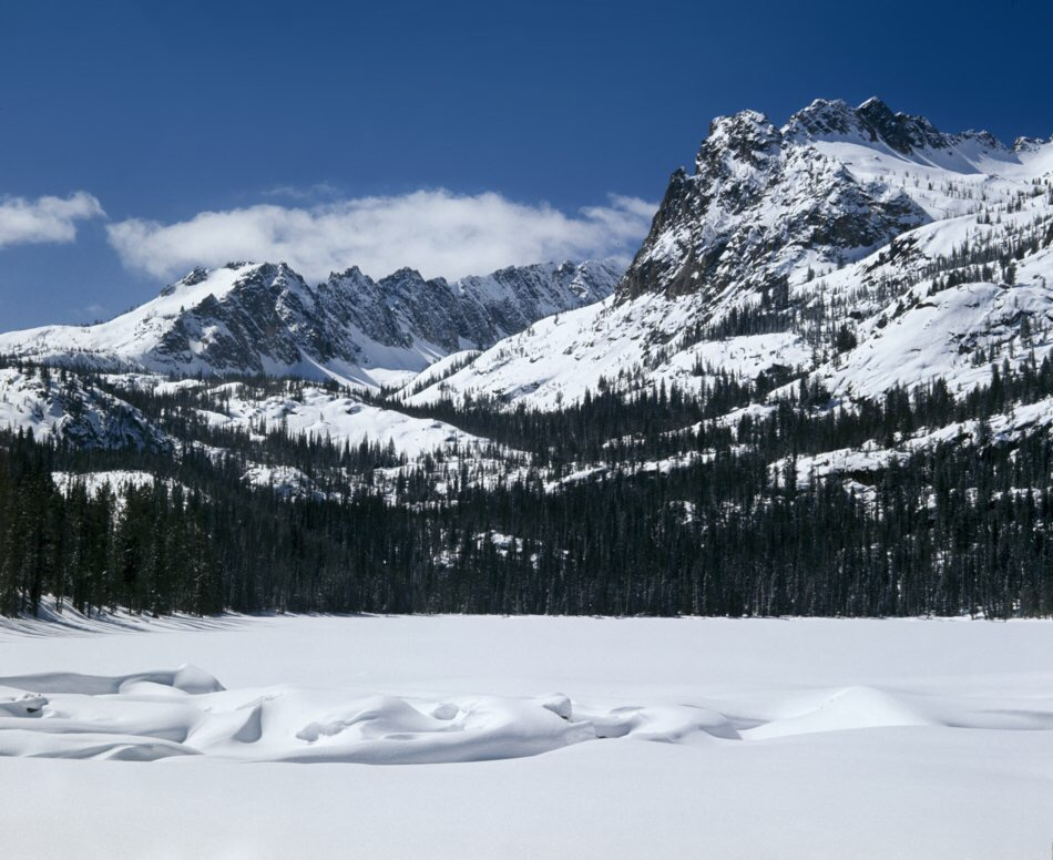 2. Looking SW from the Hell Roaring Lake outlet, toward Imogene lake, which is up and around the spectacular canyon beyond. This was my first winter expedition and at this point I remember being extremely impressed with the snow forms on the mountains. Everything about the Sawtooths was magnified by being there in winter. I was 22 years old in 1973 and it may as well have been the Himalayas to me.