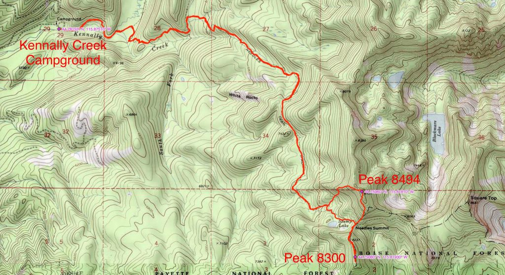 John Platt's GPS track for climbing Peaks 8494 and 8300 (12.9 miles with 3,737 feet of gain round trip).