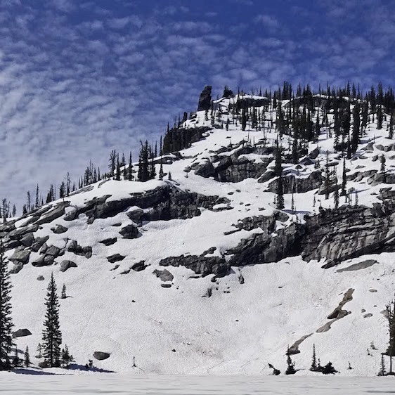 Peak 7828 above Crystal Lake. John Platt Photo