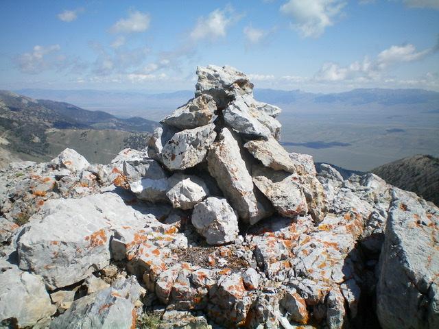 The newly-built summit cairn atop Trail Peak. Livingston Douglas Photo