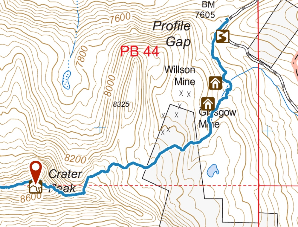 GPS track ascending from Profile Gap to the summit.