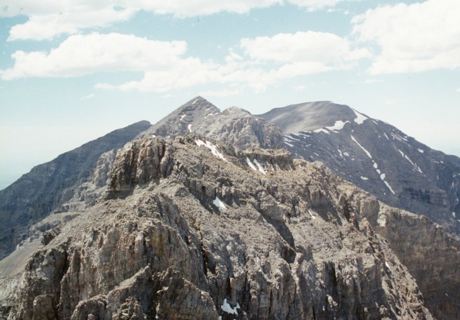 The east summit of Italian peak viewed from the west summit.