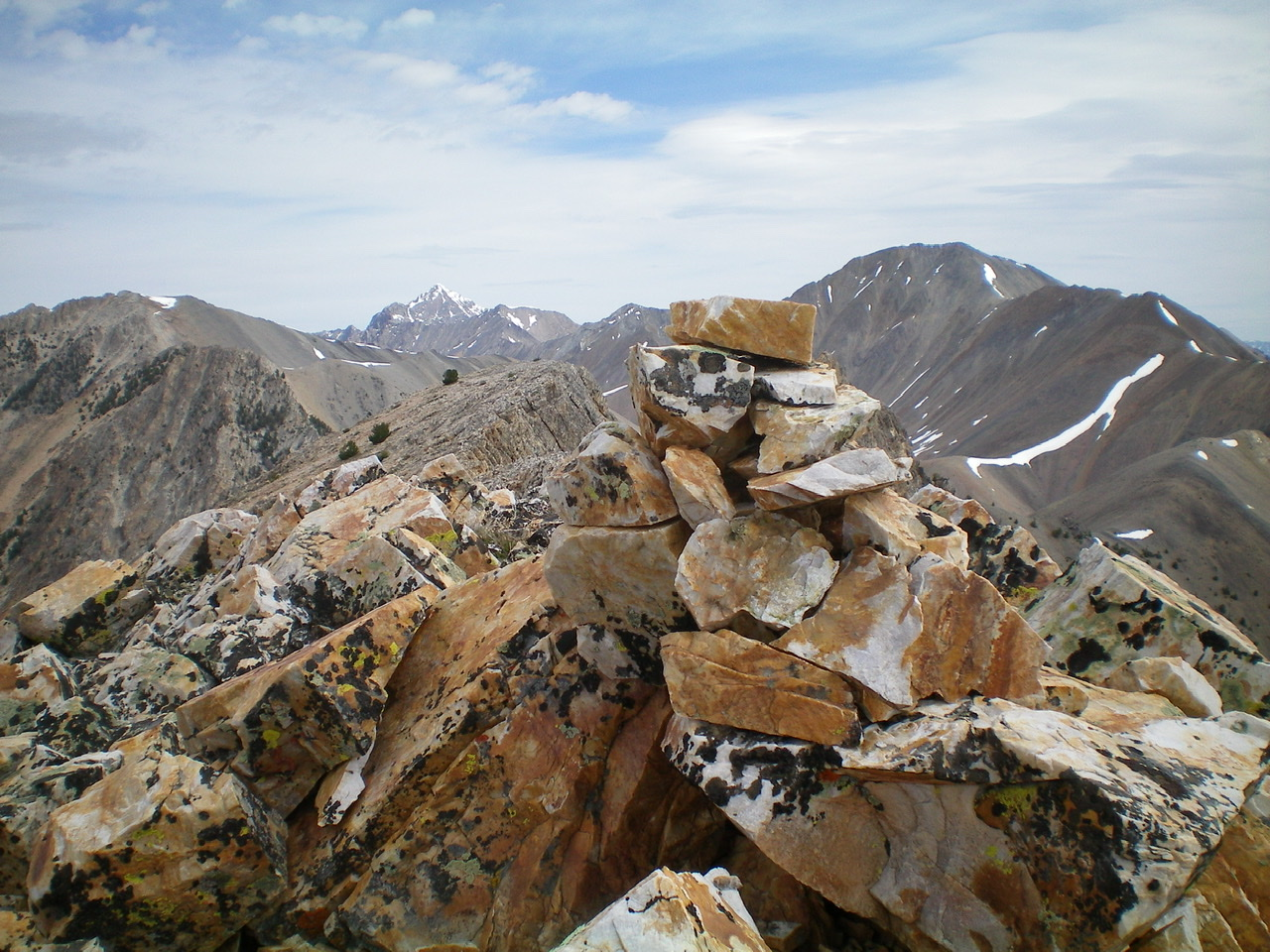 The newly-built summit cairn atop the South Summit of Sunny Bar Peak, looking north. Livingston Douglas Photo
