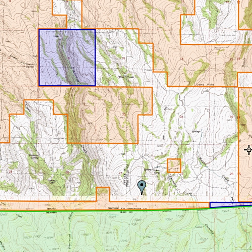 The Twin Falls high point is surrounded by public land I sits on private land.