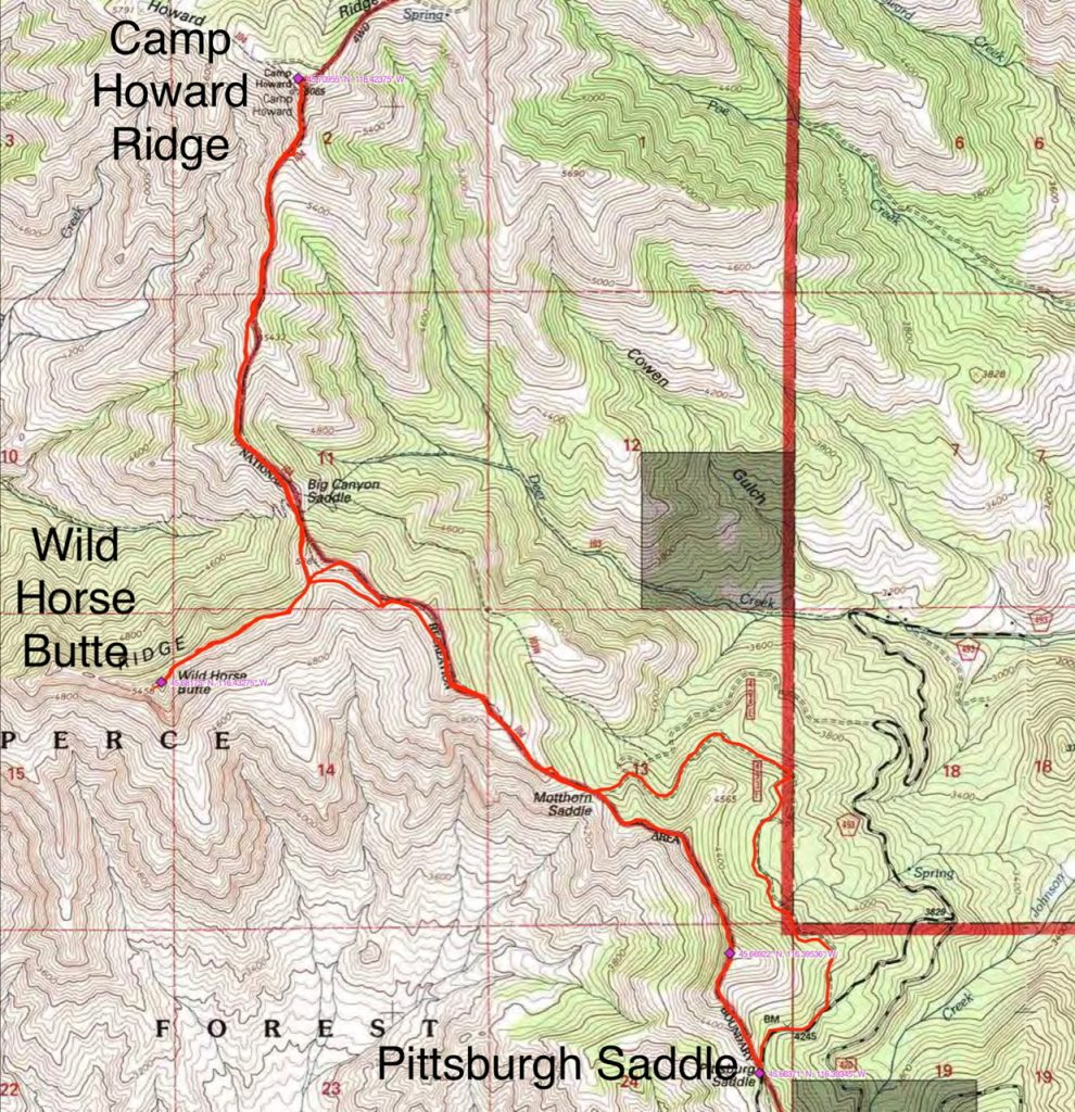 John Platt's GPS track for his three peak outing. His round trip started and ended on Pittsburgh Saddle and encompassed 10.6 miles and a total elevation gain of 4,255 feet.