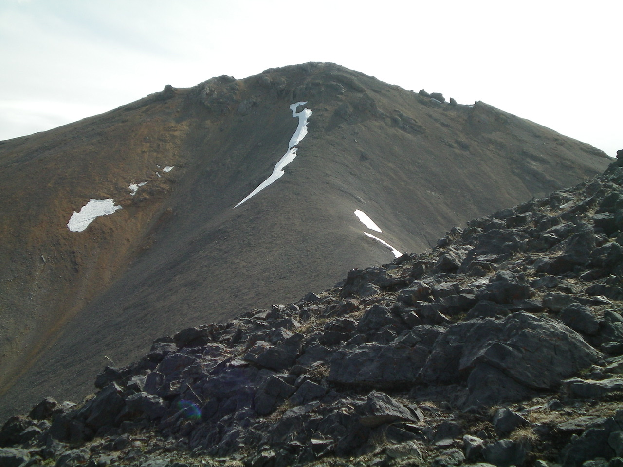 The rugged upper section of the West Ridge of Peak 10681 as viewed from lower on the West Ridge. That upper section goes at Class 2+/3, most assuredly NOT at Class 2. Livingston Douglas Photo