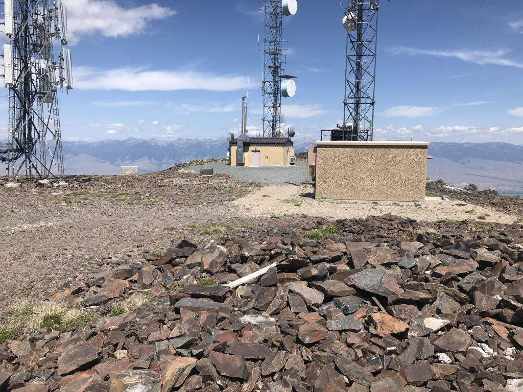 Two of the many electronic installations on the summit.