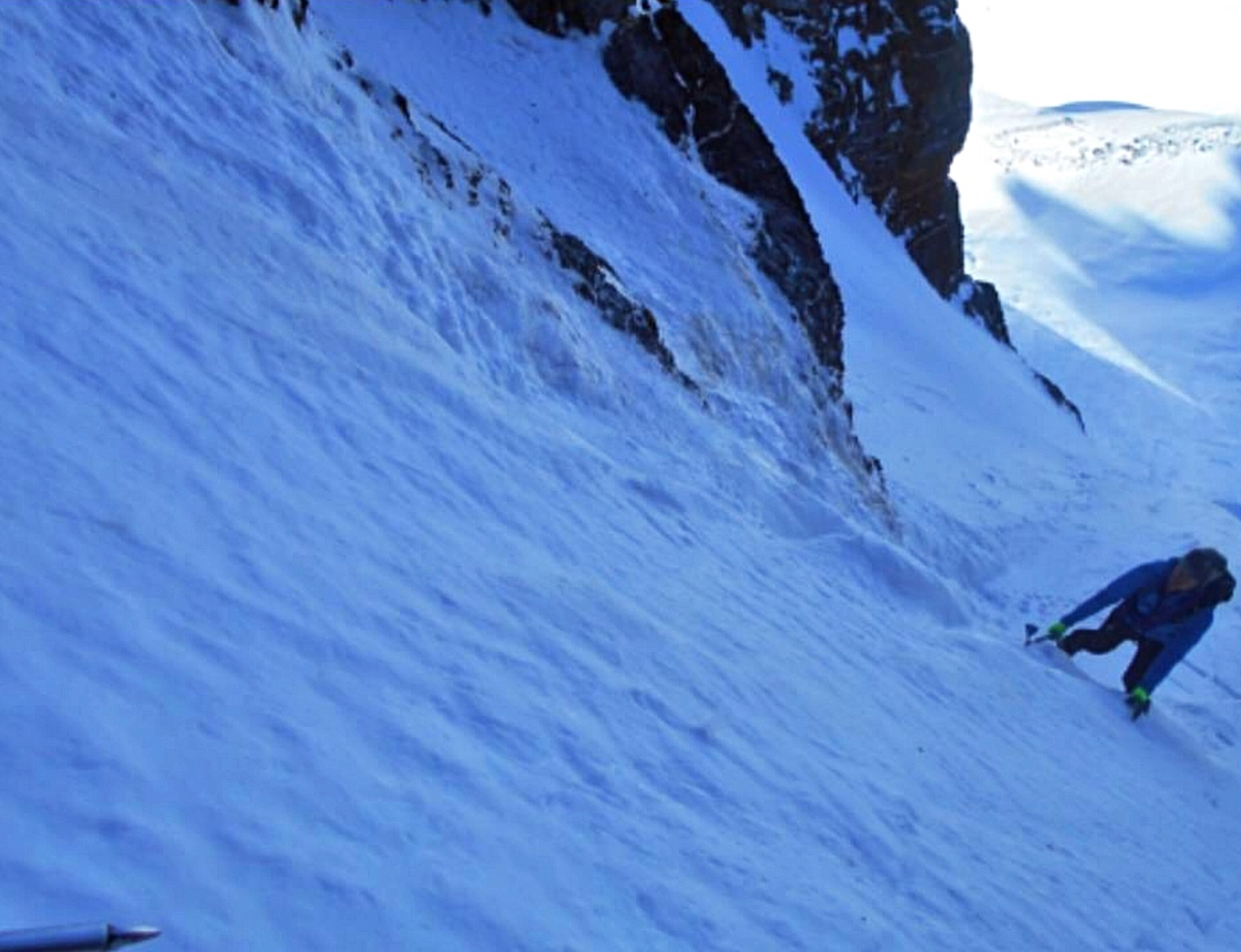 Taylor Butters low in the Couloir. Pat McGrane Photo