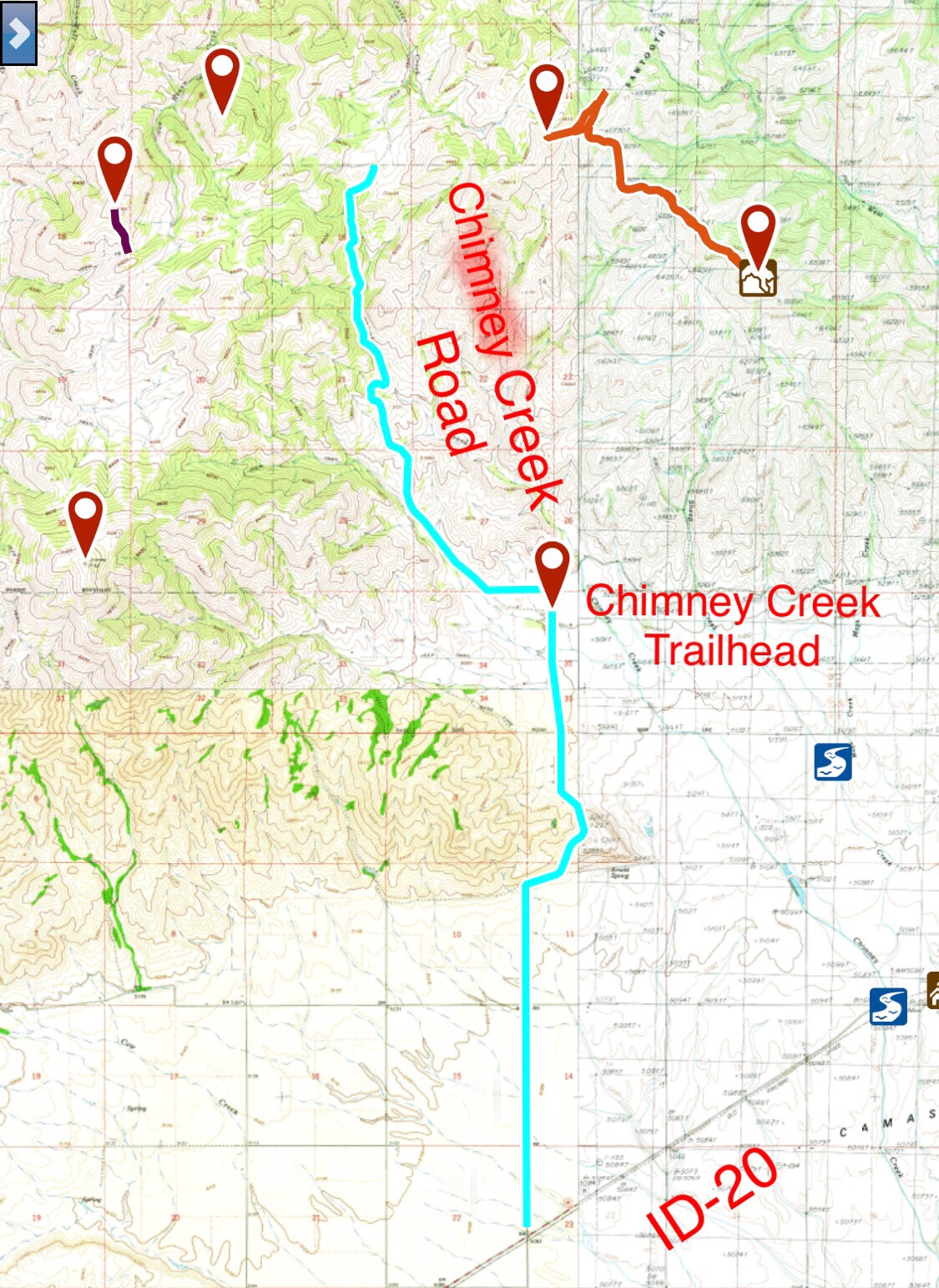 Chimney Creek Road - IDAHO: A Climbing Guide on minnesota chippewa national forest map, salmon-challis national forest map, city of rocks national reserve map, denali national park and preserve map, caribou national forest map, deerlodge national forest map, gallatin petrified forest map, idaho map, lewis and clark national forest map, mt. baker national forest map, bering land bridge national preserve map, butte valley national grassland map, gallatin national forest map, cache national forest map, custer national forest map, sawtooth range idaho, sawtooth wilderness, green mountain national forest map, cda national forest map, magic valley mall map,