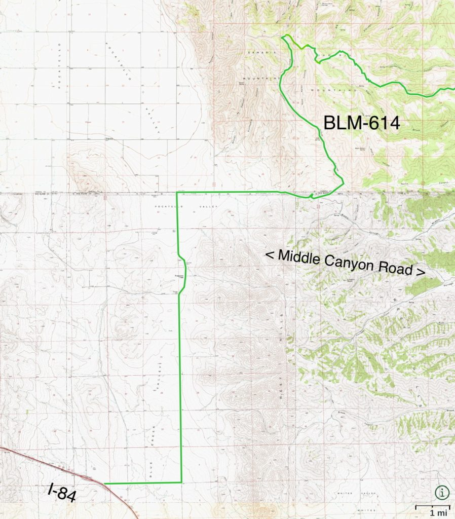 The approach from the west and I-84 to BLM-614 and North Canyon follows good county roads.
