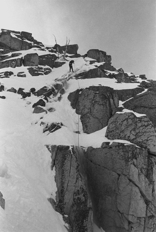 16. Rappelling down the Buttress back to the saddle.