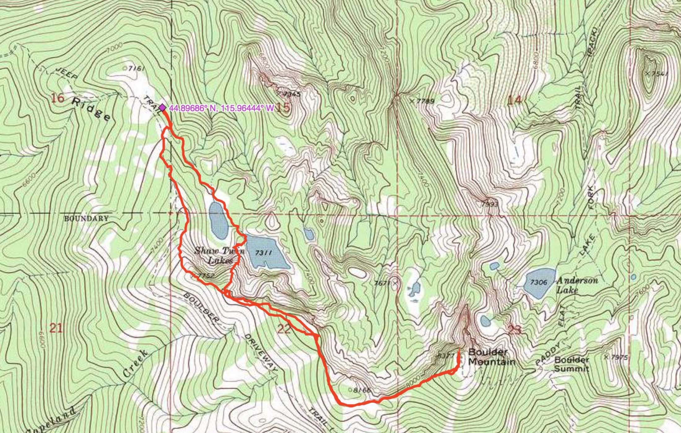 John Platt's Northwest Ridge route mapped out. Read John's trip report for further details.
