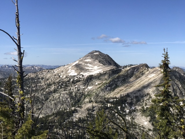 Buffalo Hump viewed from the ridge crossing. The north ridge is on the right.
