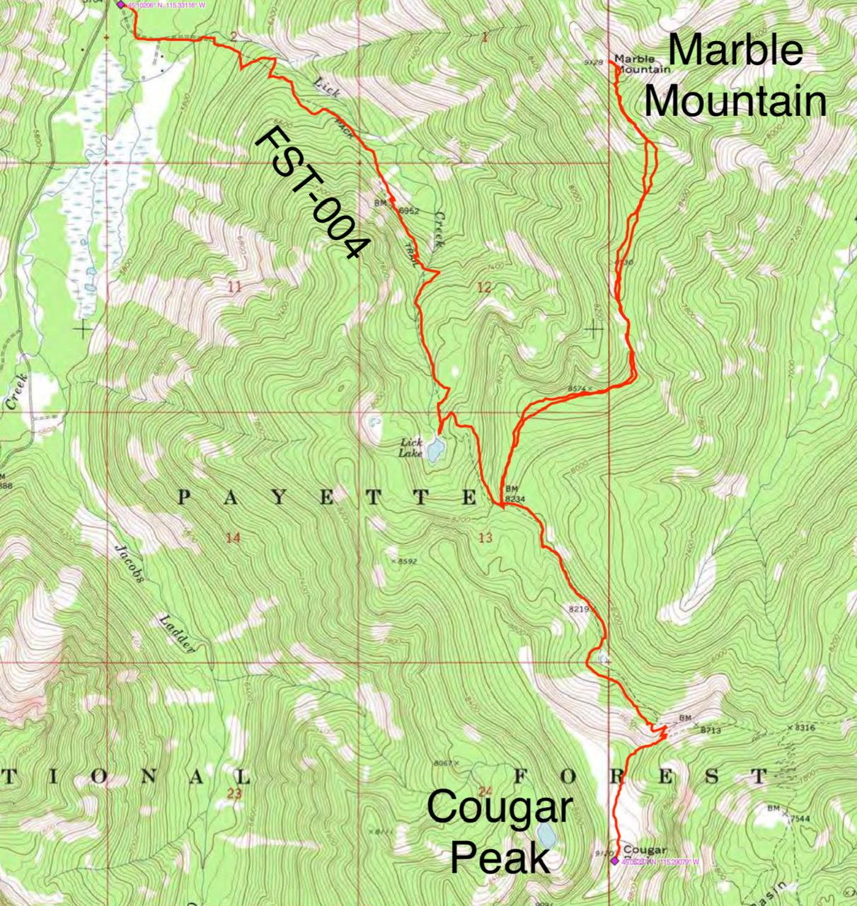 John Platt's GPS track for Marble Mountain and Cougar Peak