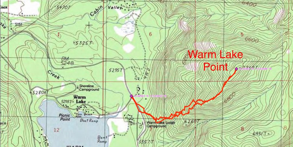 John's GPS track for the ascent. His route covered 3.5 miles with just over 1,900 feet of gain round trip.