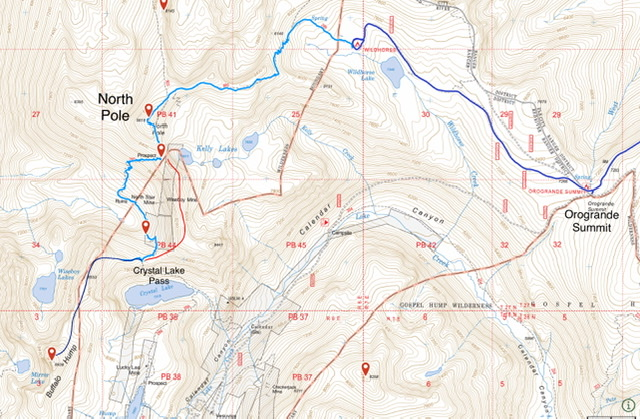 The light blue line is the trail route from the CG to Crystal Lake Pass. The red line is the crosscountry ridge crossing. The dark blue line is the route from Crystal Lake Pass to the summit.
