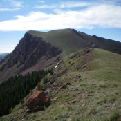 Knob Mountain (center, behind the closer hump) as viewed from the northwest. Livingston Douglas Photo