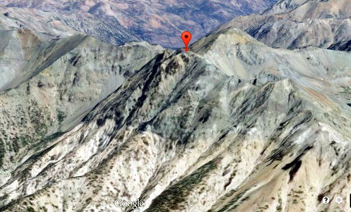 Courtesy of Google Maps, Bodacious Peak with Lorenzo behind it.