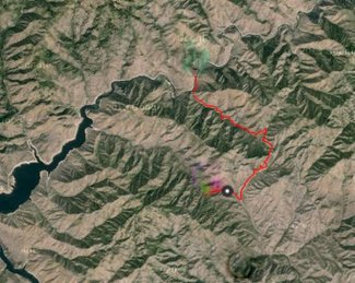 This track shows the road route from the Middle Fork to the gate closing the road that leads to the summit.