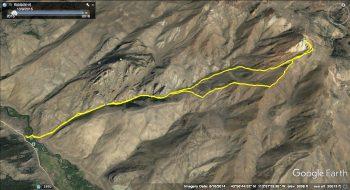 Porphyry southwest approach. GPS track - Steve Mandella