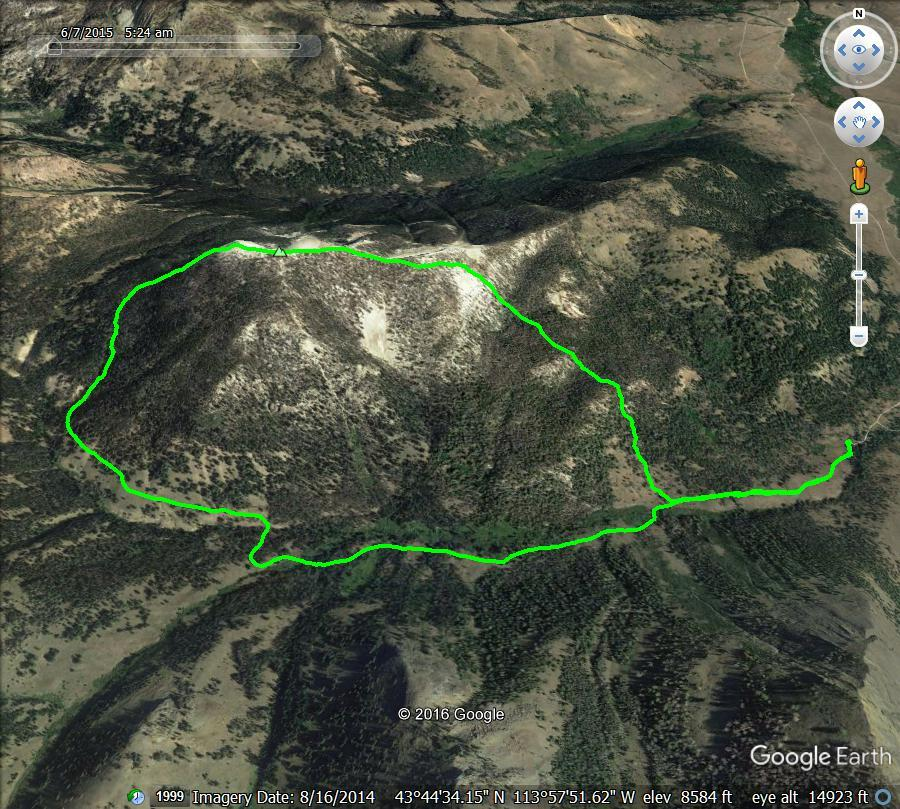 GPS track showing a loop route to the summit of White Mountain. Track - Margo Mandella.